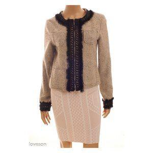 ANNE CARSON Crochet/Real Fur Trim Zip Up Jacket